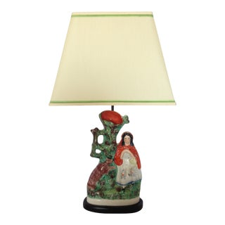 Antique Mid 19th Century English Staffordshire Little Red Riding Hood Lamp For Sale
