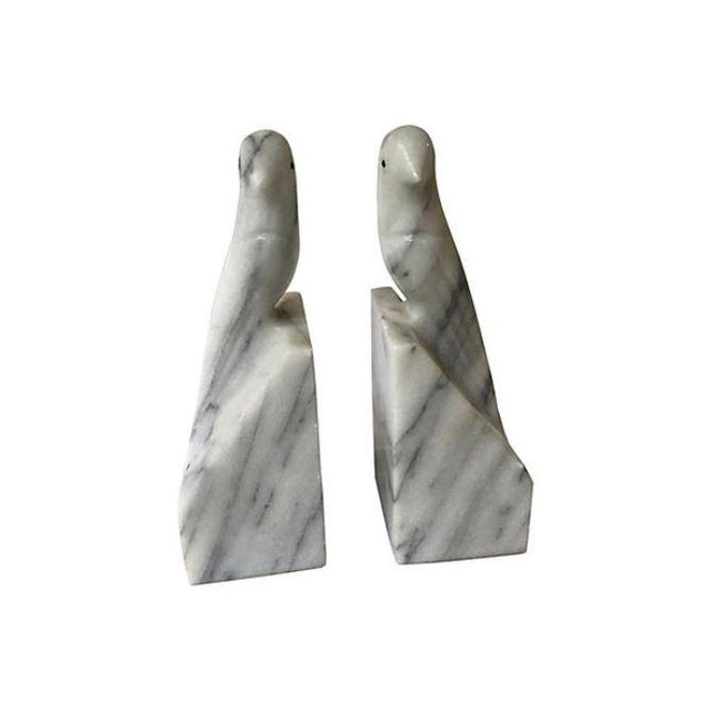 Traditional Vintage White Marble Bird Bookends - A Pair For Sale - Image 3 of 4