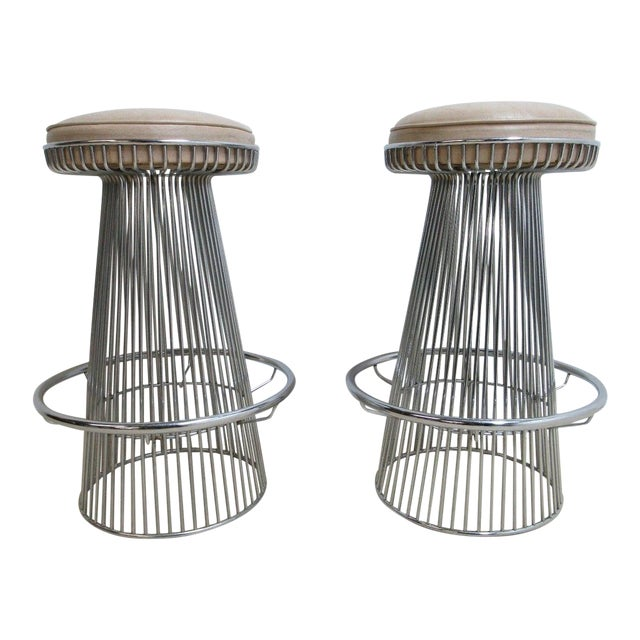 Vintage Chrome Wire Cone Bar Stools - A Pair - Image 1 of 11