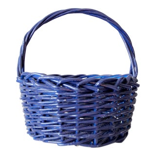 Large Vintage Handle Basket For Sale
