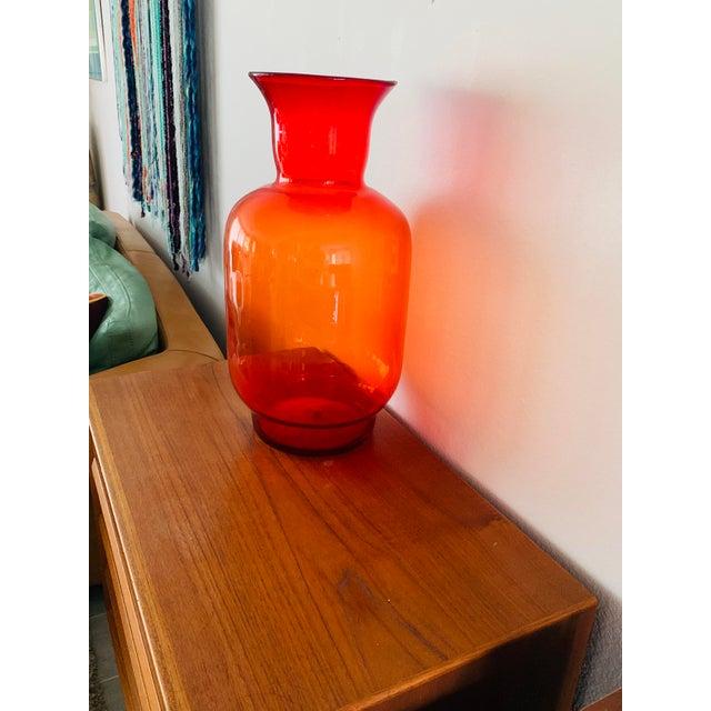 Orange Blenko Tangerine Orange Floor Vase Scarce Oversized - # 7048 For Sale - Image 8 of 13