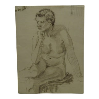 "Mid-Century Modern Original Drawing on Paper, ""Nude in Deep Thought"" by Tom Sturges Jr"