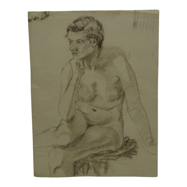 """Mid-Century Modern Original Drawing on Paper, """"Nude in Deep Thought"""" by Tom Sturges Jr For Sale"""