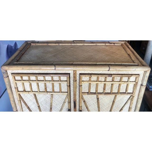 1980s Vintage Rattan Burnt Bamboo Armoire For Sale - Image 5 of 13