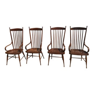 Early 20th Century English Style Windsor Spindle-Back Armchairs - Set of 4 For Sale