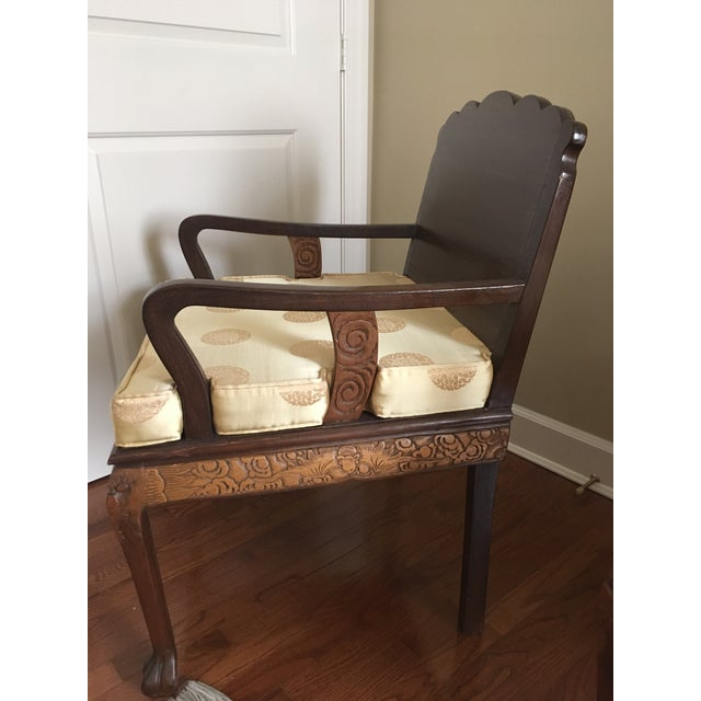 Antique High Relief Carved Arm Chairs - A Pair For Sale - Image 5 of 10