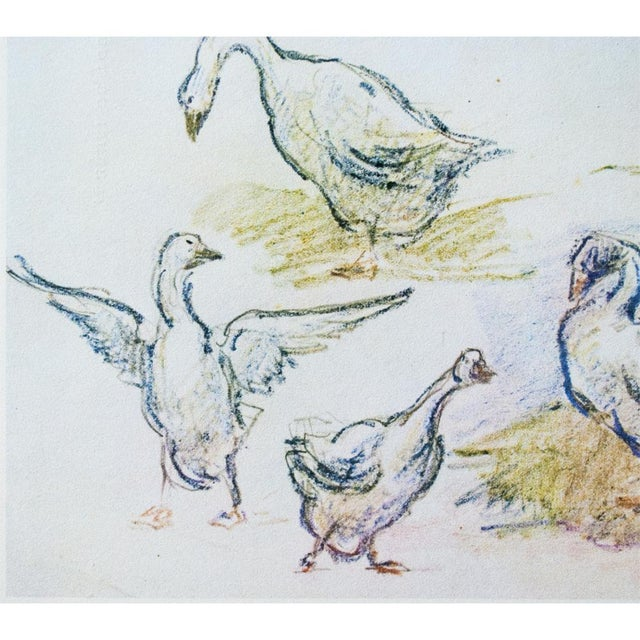 1950s Cottage Style Hungarian Geese Lithograph by Alfred Sisley, 1959 For Sale - Image 5 of 11