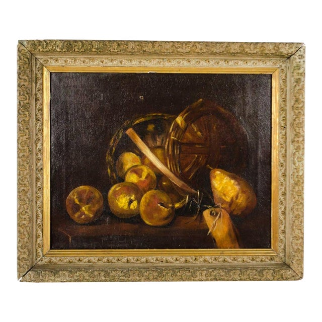 Early 20th Century Antique Fruit Basket Still Life Oil on Canvas Painting For Sale