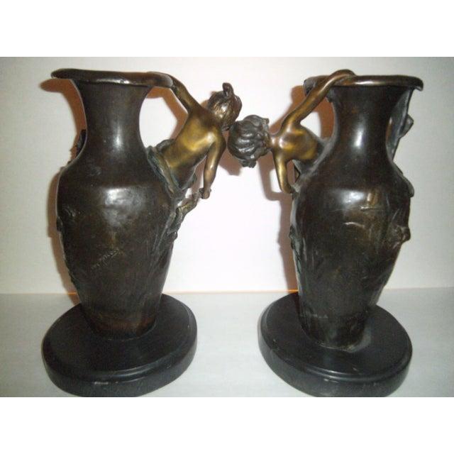 Auguste Moreau Bronze Vases - A Pair - Image 4 of 7