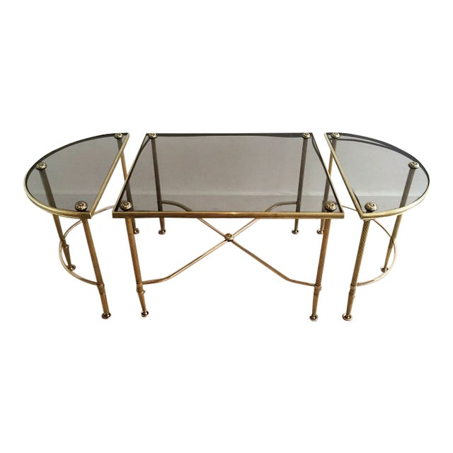 Maison Bagues Tripartite Brass Coffee Table For Sale