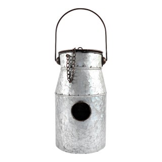 Country Style Silver Milk Jug Birdhouse For Sale