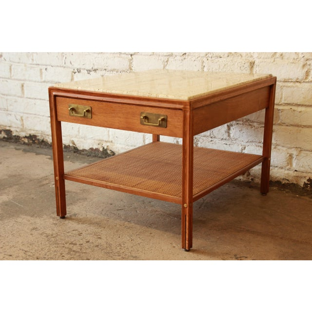Gerry Zanck for Gregori Mid-Century Walnut & Travertine Side Table For Sale - Image 11 of 11