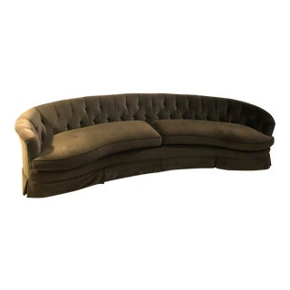 Hollywood Regency Velvet Tufted Curved Sofa For Sale
