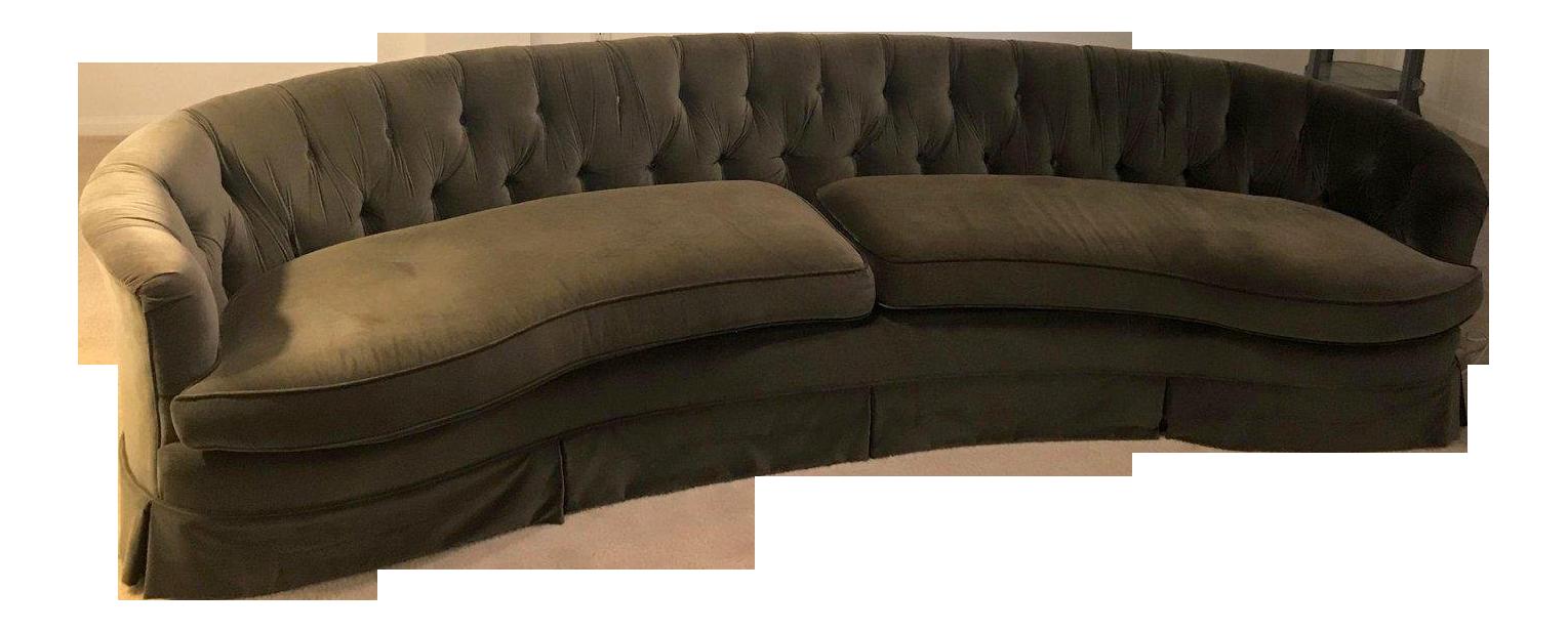 Hollywood Regency Velvet Tufted Curved Sofa