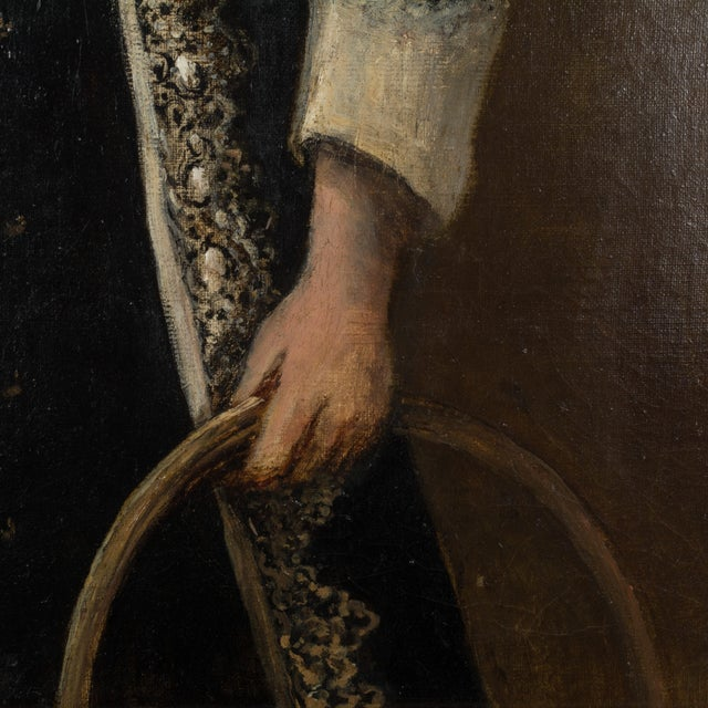 19th Century 19th Century French Portrait of a Young Girl Oil Painting For Sale - Image 5 of 8