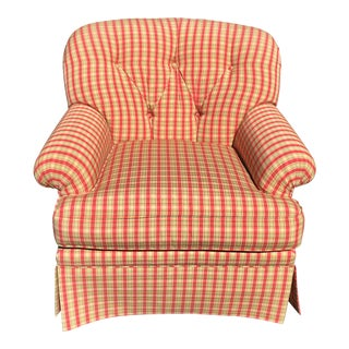 Sherrill Green & Red Tufted Back Chair For Sale