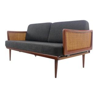 High-Style Scandinavian Modern Drop-Arm Sofa Designed by Peter Hvidt For Sale