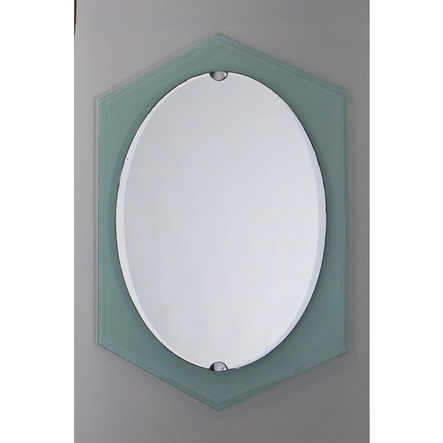 Green Fontana Arte Italian Mid Century Mirror For Sale - Image 8 of 9