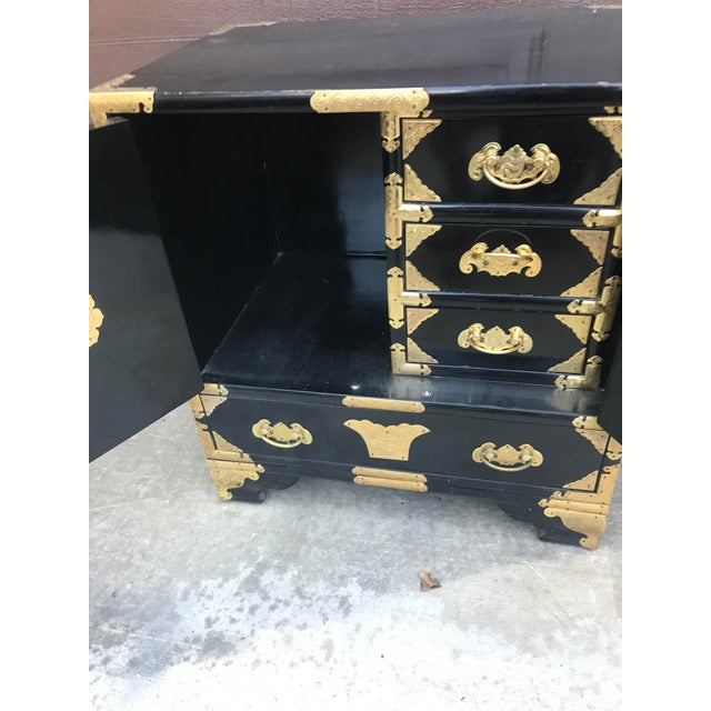 Metal 19th Century Antique Black Chinese Cabinet For Sale - Image 7 of 13