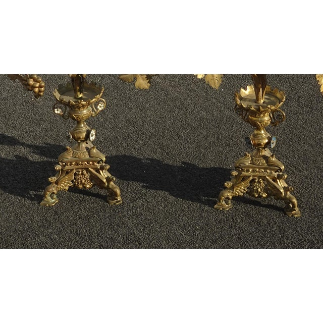 """Pair Tall 36""""h Vintage Gold Table Top Floral Candelabras Brass Candle Holders Light For Sale - Image 12 of 13"""