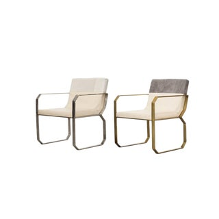 Contemporary Cream and Gray Leather Dining Chairs - a Pair