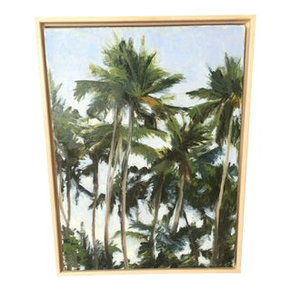 Late 20th Century Vintage Palm Trees Oil Painting For Sale