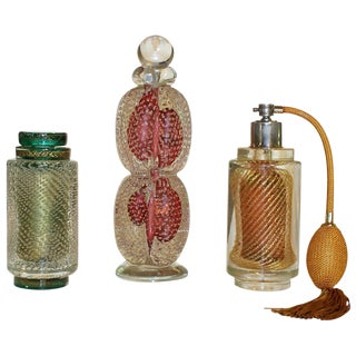 Murano Atomizer Handblown Glass Perfume Bottles - Set of 3 For Sale