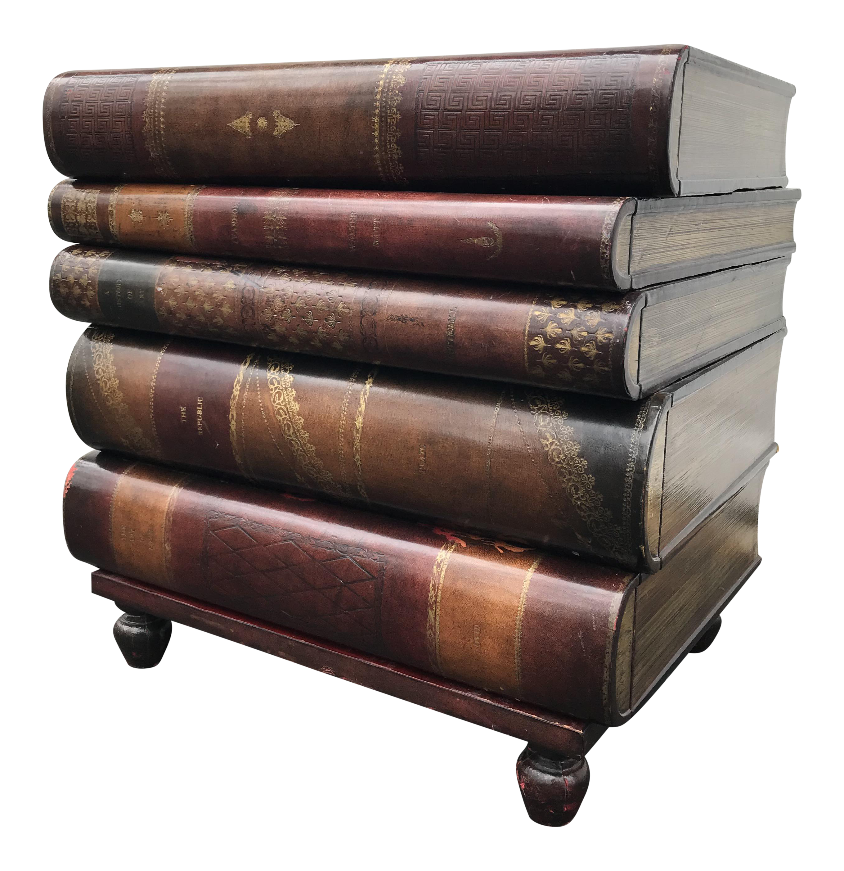 Marvelous Maitland Smith Stacked Book Shaped Side Table   Image 1 Of 7