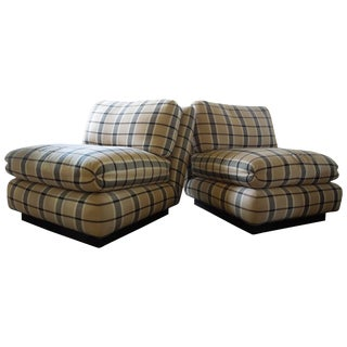 Pair of Marge Carson 1980s Silk Blend Plaid Slipper Chairs For Sale