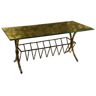 Hollywood Regency Style Gilt Brass Coffee Table For Sale
