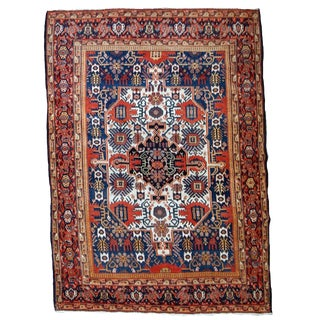 1900s, Handmade Antique Persian Senneh Rug 4.1' X 6.3' For Sale