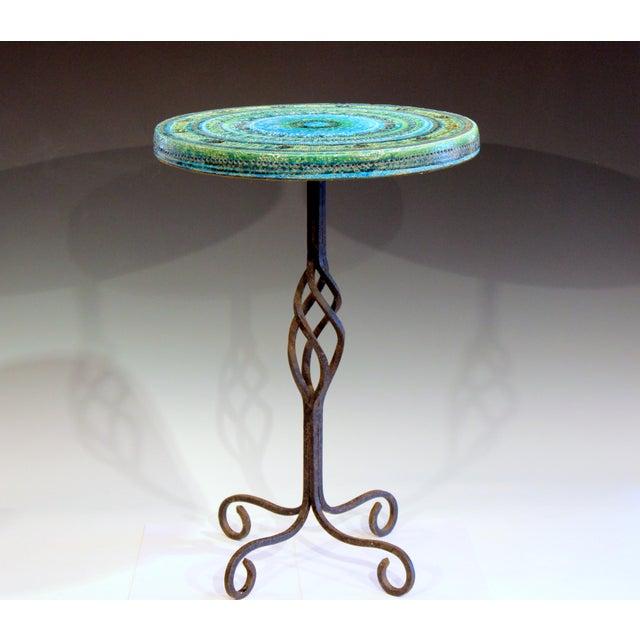 1960s Bitossi Rimini Blue Londi Italian Pottery Wrought Iron Ceramic Table For Sale - Image 10 of 10