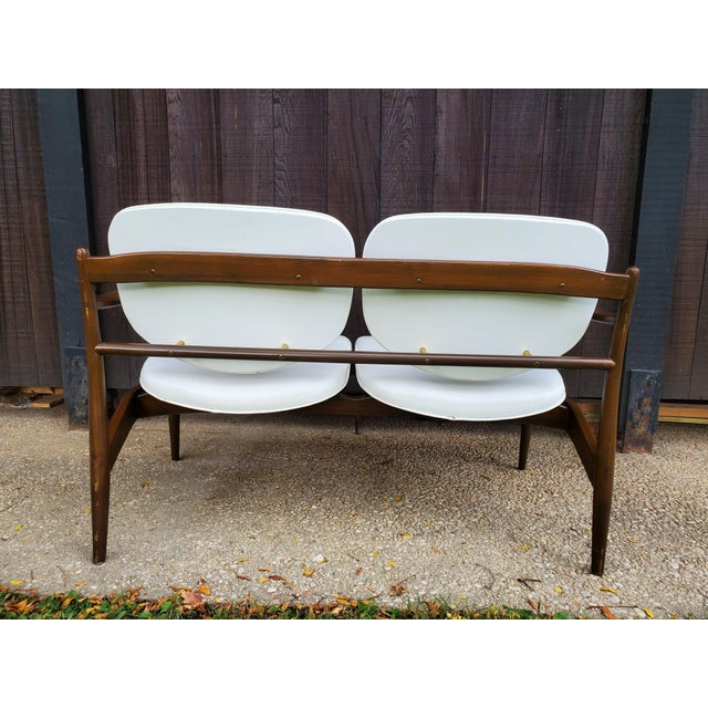 Mid 20th Century Mid 20th Century Danish Modern Style White Settee For Sale - Image 5 of 13