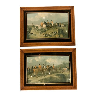 Framed English Hunting Prints, Pair For Sale