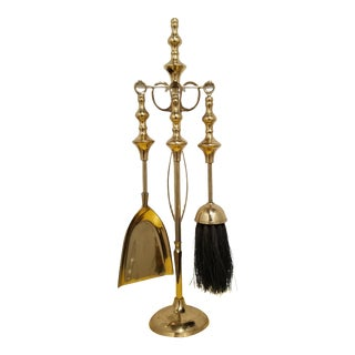 Vintage Petite Brass Fireplace Tools Set - 5 Pieces For Sale