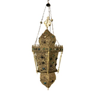 Large Antique Moorish Style Wire Brass Lantern For Sale