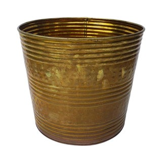 1960s Vintage Large Hammered Brass Planter