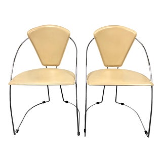 Eurostyle Chrome + Leatherette Chairs - a Pair