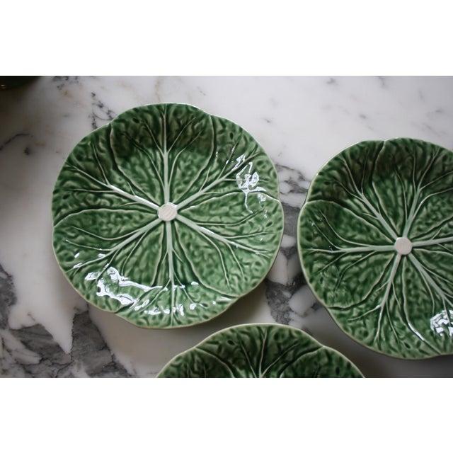 Ceramic Set of 4 Bordallo Pinheiro Green & White Majolica Style Cabbage Salad Plates For Sale - Image 7 of 10
