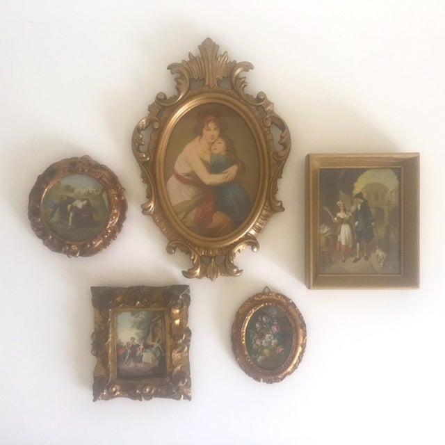 Gold Vintage Mid-Century Florentine Gilt Framed Art Pieces- Set of 5 For Sale - Image 8 of 9