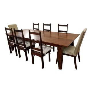 Farmhouse Style Hardwood Dining Table and 8 Chairs