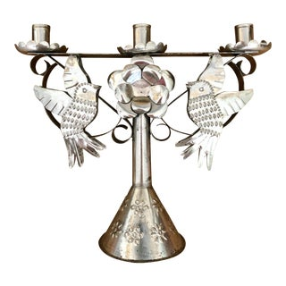Silver Bird and Floral Mexican Punched Tin Candelabra For Sale