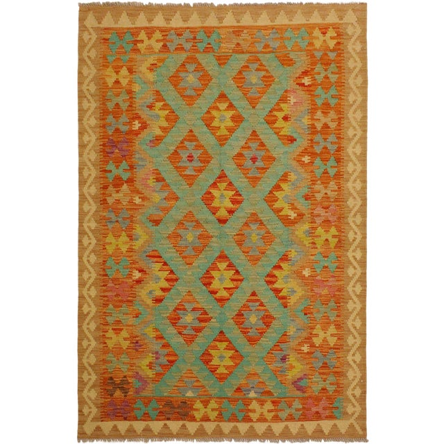 Era Red/Green Hand-Woven Kilim Wool Rug -4'3 X 5'10 For Sale