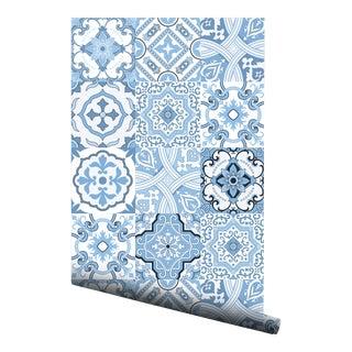 Moroccan Light Blue Portuguese Pre-Pasted Wallpaper - 2 Piece Set For Sale