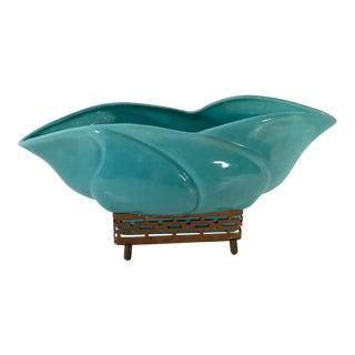 Vintage Mid Century Turquoise Ceramic Planter For Sale