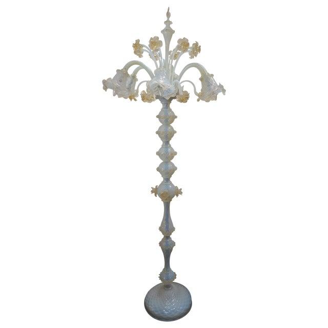 Murano Opaline Glass Floor Lamp For Sale
