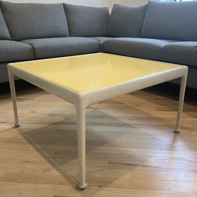 Vintage Richard Schultz for Knoll square coffee table. Original iconic yellow top finish color -- porcelain enameled...