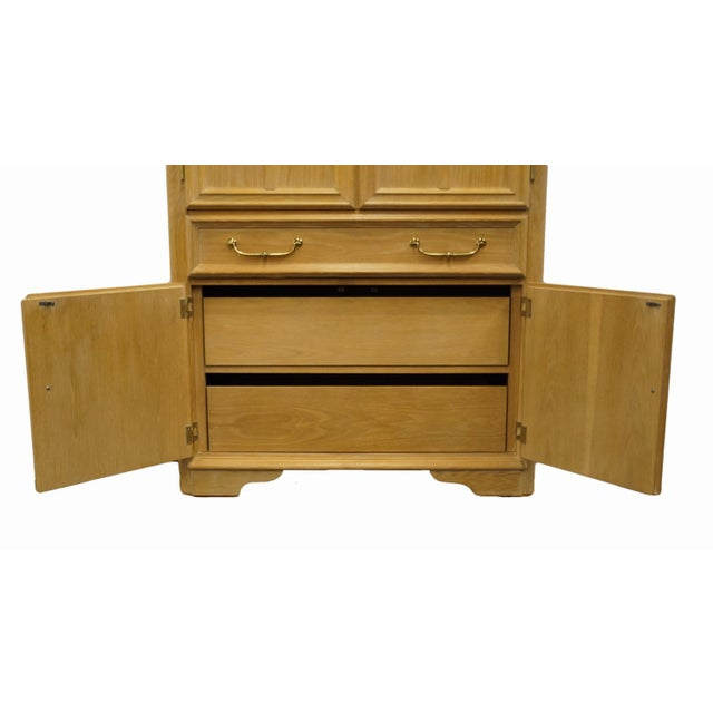 """Late 20th Century Stanley Furniture Pickled Oak 42"""" Door Chest/Armoire For Sale - Image 5 of 13"""