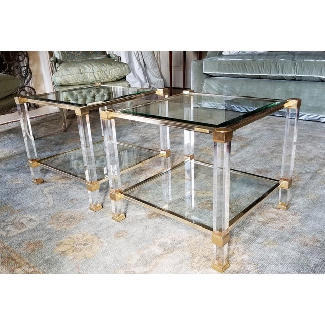 """Pair Of 1970's Signed """"Pierre Vandel"""" Lucite & Gilded Metal End Tables. 2 pairs available - total of 4 end tables. Priced..."""