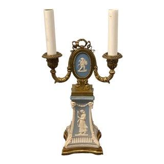 Wedgwood Adam Style Ormolu Mounted Lamp For Sale